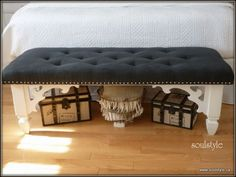 diy upholstered bench....love this look for the end of our bed#Repin By:Pinterest++ for iPad#