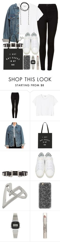 """""""Outfit for college with sneakers and a denim jacket"""" by ferned ❤ liked on Polyvore featuring Topshop, Monki, Levi's, B-Low the Belt, Yves Saint Laurent, Casetify, Casio and Forever 21"""
