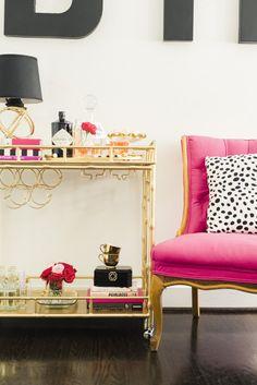 Festive bar cart and pink chair: http://www.stylemepretty.com/living/2015/01/30/love-drunk-valentines-day-inspiration/ | Photography: Krista A Jones - http://kristaajones.com/