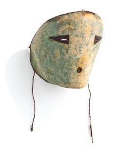 Mask Jemez Pueblo, American Southwest Late 19th Century Buffalo Hide, String, Thread, Natural Pigments