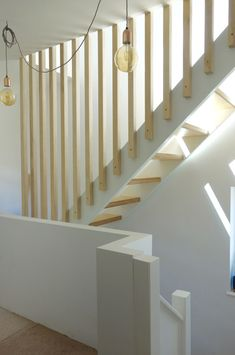 Open Riser Staircase and Full height Plywood Spindles First floor stairs to loft conversion.
