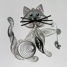 Quilled / Filigree Kitty Cat Hanging Ornament: Silver Gray with Touches of Black, Blue Colored Eyes Holding aTiny Gray Mouse