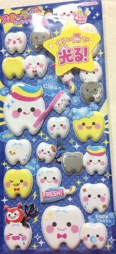 Kawaii Japan Sticker Sheet Assort: Super Puffy Marshmallow Series Glow in the Dark Teeth Dental Dentist Office Stickers