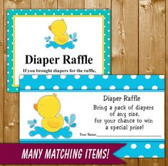 Rubber Duck Diaper Raffle, Yellow and Aqua, Baby Shower Diaper Raffle, Neutral Baby Shower, Instant Download