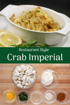 Crab Imperial is a timeless classic that is not only delicious but so very easy to make. Great for parties or a special dinner for two. Crab Pie Recipe, Crab Cake Recipes, Fish Recipes, Seafood Recipes, Cooking Recipes, Salmon Recipes, Potato Recipes, Recipies, Crab Dishes