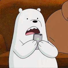 Ice Bear with his Cellie Ice Bear We Bare Bears, 3 Bears, Cute Bears, We Bare Bears Wallpapers, Cute Polar Bear, Happy Cartoon, Cartoon Memes, Cartoons, Bear Wallpaper