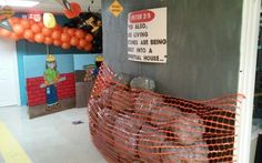 definitely easy to do, make sign that says watch for falling rocks. netting sold at Home Depot Construction Theme Classroom, Construction Birthday Parties, Construction Party, Kids Church Decor, Church Camp, Church Ideas, Vbs Themes, Classroom Decor Themes, Maker Fun Factory Vbs