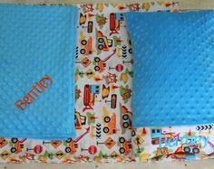 Nap Mat Cover - Trucks - Construction - Tractors - Kindermat - Back To School - Pillowcase - Blanket - Minky - Embroidery