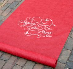 Red Happily Ever After Aisle Runner | Red Wedding Aisle Runner | Pop of Color #wedding #aislerunner