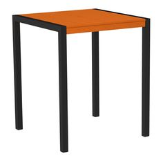 "Polywood 8102-12TA MOD 36"" Bar Table in Textured Black Aluminum Frame / Tangerine"