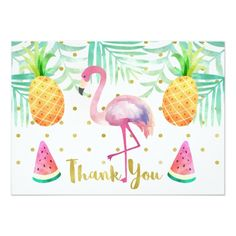 Watercolor Flamingo Birthday Thank You Card - Make th birthday a special day. Graduation Party Invitations, Christmas Party Invitations, Invitation Birthday, Invitation Card Maker, Flamingo Birthday, Baby Birthday, Birthday Thank You Cards, Tropical, Custom Thank You Cards
