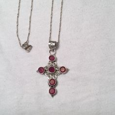 "Sterling Silver Purple stone cross necklace Excellent condition..necklace marked Italy measures 10"" drop Sterling Silver Jewelry Necklaces"