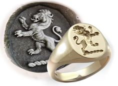 Custom Crest - Lion Rampant with Wax Impression Aztec Jewelry, Metal Jewelry, Custom Jewelry, Jewelry Rings, Silver Jewelry, Jewellery, Wax Seal Ring, Ancient Jewelry, Signet Ring