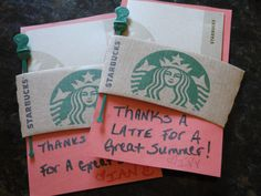 Thank you gift for teacher- Starbucks gift card