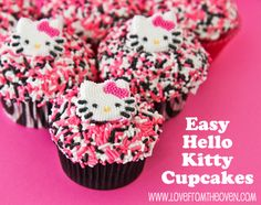 Easy Hello Kitty Cupcakes at Love From The Oven