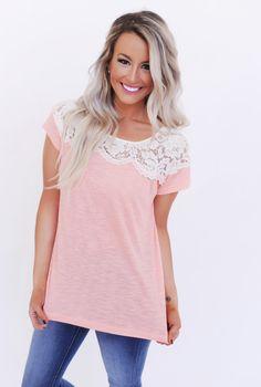 Lace Neck Short Sleeve Top- Peach - Dottie Couture Boutique