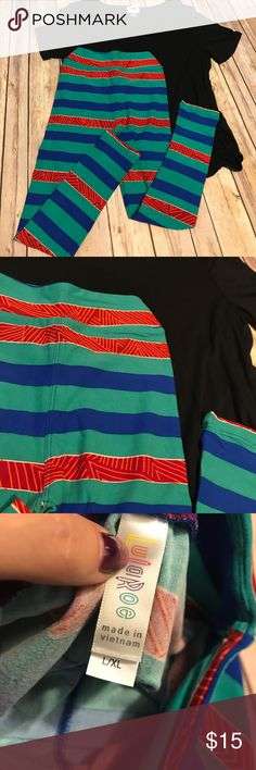 Kids L/XL LuLaRoe Leggings Brand new Kids L/XL leggings. Hunter green, royal blue and red patterned stripes. These fit Kids sizes 8-14. LuLaRoe Bottoms Leggings