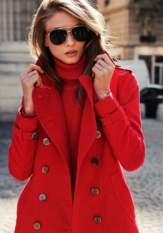 Love the coat!   Red on red?  Not so much.