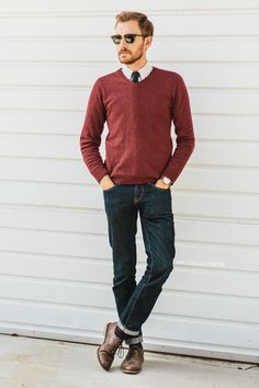 November 18, 2013. Sweater: H&M - $29 (similar)Shirt: Frank & Oak - $35Jeans: American Eagle - $39Shoes: J. Shoes Charlie - Jack Thr...