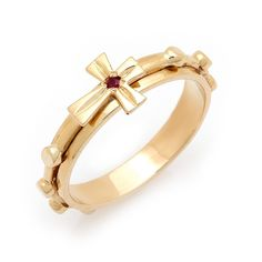 gold rosary ring with natural ruby