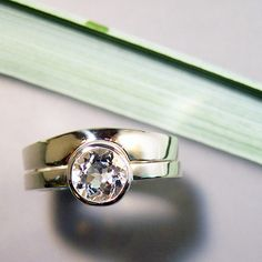 White Topaz Wedding Band Set Sterling by ChrisMuellerJewelry, $170.00