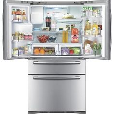 The Samsung four-door refrigerator adds a third drawer with independent temperature control. 4 Door Refrigerator, Stainless Steel Refrigerator, Refrigerator Organization, Door Alarms, Tempered Glass Shelves, Decoration, French Doors, Home Kitchens, Cuisine