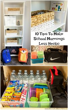 School Morning Hacks Tips) - Moms & Munchkins School Morning Hacks - 10 Tips For Making School Mornings Less Hectic including lunch packing tips, backpack station organization, make-ahead breakfast ideas and more! School Organization For Teens, Kids Clothes Organization, Backpack Organization, Organization Ideas, Organizing School, Organizing Tips, Make School, Back To School Hacks, School Tips