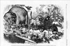 """1874 Nast cartoon featuring the first notable appearance of the Republican elephant Thomas Nast - """"The Third-Term Panic"""", by Thomas Nast, originally published in Harper's Magazine 7 November 1874. Digital copy via Harper's Magazine website"""