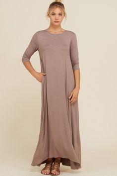 fefdfe5bee Frankie Loose 3/4 Sleeve Maxi Dress : Taupe Grey – GOZON Boutique Maxi Dress