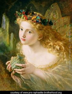 'Take the Fair Face of Woman, and Gently Suspending, With Butterflies, Flowers, and Jewels Attending, Thus Your Fairy is Made of Most Beautiful Things', Charles Ede - Sophie Gengembre Anderson - www.pre-raphaelite-brotherhood.org
