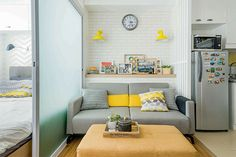 A Compact Euro-hip Condo Home Condo Interior Design, Condo Design, Studio Interior, Apartment Interior, Apartment Design, Studio Apartment, Micro Apartment, Interior Decorating, Small Condo Living