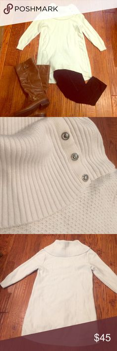Beautiful soft creamcolored sweater from WHBM! Super soft cream colored sweater from White House black market. It has three quarter sleeves and I cut out the tag at the top because it was itchy but I have only worn it three times! White House Black Market Sweaters Cowl & Turtlenecks