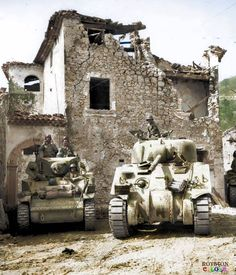 US tanks of the 755th Tank Battalion wait for the order to advance in Coreno Ausonio, Italy, one hour after it's fall on the 14th of May 1944. The same tanks, manned by Americans, were attached to the French mountain troops making a drive from the Castelforte area on the right flank of the Fifth Army, through the Aurunci Mountains and into the Liri Valley.