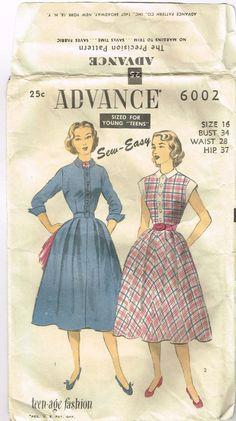 Vintage 1950s Rockabilly Shirtwaist Dress Pattern Size 16 ADVANCE 6002