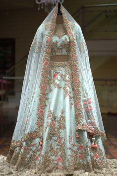 A Sky Blue Color Zardosi Embroidered Raw Silk Bridal Lehenga - Designer Dresses Couture Bridal Lehenga Online, Designer Bridal Lehenga, Indian Bridal Lehenga, Indian Bridal Outfits, Indian Bridal Wear, Indian Dresses, Pakistani Dresses, Blue Bridal, Pakistani Lehenga