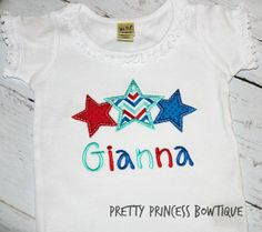 SUMMER-STAR-TRIO 4th of July Embroidery shirt/onesie/tank