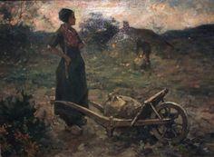 """In het Noord-Veluws museum in Nunspeet ook deze """"Aardappeloogst aan de Zoom"""". Het doek is kleiner en donkerder dan het vergelijkbare schilderij: de boerin verdwijnt in de avondschemer. In het grote schilderij schittert zij in het avondlicht. De kleinere versie zal eerder geschilderd zijn, waarna Edzard ontdekte dat er nog meer in het thema zat. (Excuus voor de slechte foto)"""