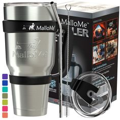 MalloMe Tumbler Stainless Steel Insulated Tumbler With Straw – Best Tumblers With Lids And Straws - Coffee 30 oz Cup Travel Mug Handle - 6 Piece - Like Yeti Tumbler Gift Set Insulated Coffee Cups, Insulated Tumblers, Stainless Steel Coffee Mugs, Stainless Steel Straws, Coffee Tumblr, Tumbler With Straw, Water Tumbler, Kitchen Sale, Metal Straws
