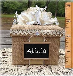 Bridesmaid Gift Box rustic wedding burlap lace personalized chalkboard, All The Best Card Boxes All The Best Card Box... Rustic Bridesmaids Gifts, Bridesmaid Gift Boxes, Bridesmaid Proposal Box, Christmas Gift Decorations, Burlap Christmas, Gothic Wedding Decorations, Burlap Lace, Wedding Burlap, Wooden Wedding Guest Book