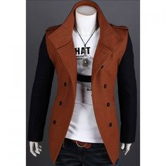 Korean Fashionable Style Turn Down Collar Color Block Long Sleeves Double-Breasted Woolen Coat For Men, BROWN, L in Jackets & Coat | DressLily.com