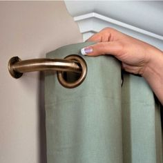 For the bedroom.This unique curtain rod allows insulated curtains to wrap around to the wall, blocking side light and drafts, helping to save energy and provide more privacy - Blockaide Curtain Rod Sliding Door Curtains, Sliding Door Window Treatments, Window Curtain Rods, Window Coverings, Unique Curtains, Drapes Curtains, Drapery, Valances, Blackout Curtains