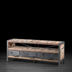 Urban Three Drawer TV Unit Made of Metal and Recycled Boat Wood | Entertainment Stand Made of Repurposed Wood and Locker Style Metal Drawers...