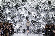 A model presents a creation by designer Mary Katranzou during her catwalk show at the autumn/winter 2016 London fashion week Fashion Runway Show, Candy Stripes, Set Design, Who What Wear, Amazing Photography, Backdrops, Display, Creative, Inspiration