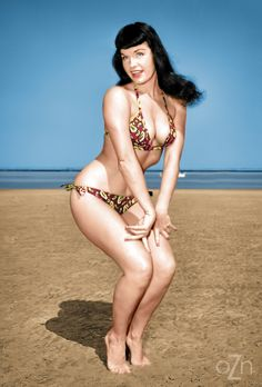 """oldiznew: """"Bettie Page on the beach """""""