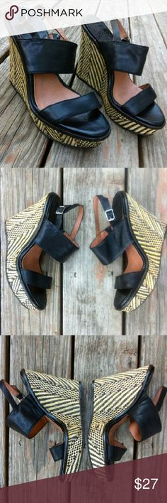 """Lucky Brand Strappy Leather Wedge Sandal These are black, genuine leather, strappy, platform, wedge sandal by Lucky Brand in size 8.5 (38.5). In great used condition w/spotless footbed! Platform is approx 1 1/2"""" tall and total wedge height is approx 4 3/4"""" tall. Believe they'll fit both a size 8 & size 8.5. Lucky Brand Shoes"""