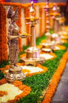 Ideas For Wedding Ceremony Decorations Church Aisle Runners Simple Diwali Decorations, Indian Wedding Decorations, Wedding Ceremony Decorations, Flower Decorations, Indian Weddings, Indian Decoration, Housewarming Decorations, Hall Decorations, Ceremony Backdrop