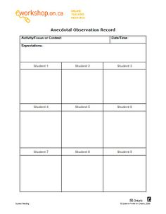 Use This Sheet For Recording Teaching Strategies Gold Observation
