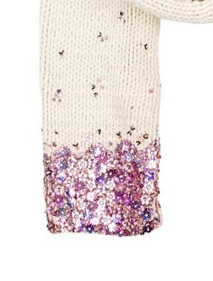 Creme Dries Van Noten knit scarf with pink embellished flower adornments at ends.