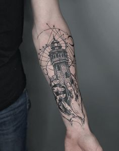 lighthouse tattoo meaning Small Forearm Tattoos, Forearm Sleeve Tattoos, Forearm Tattoo Design, Tattoo Designs And Meanings, Tattoos With Meaning, Lighthouse Tattoo Meaning, Lighthouses, Tattoo Artists, The Incredibles