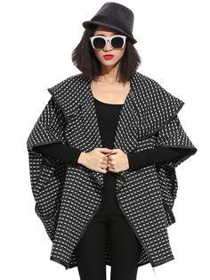 Plus Size Fashion Print Polo Collar Wool Coat